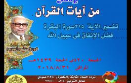 حلقة تلفزيونية _ من آيات القرآن الكريم _ 215البقرة_فضل الإنفاق فى سبيل الله